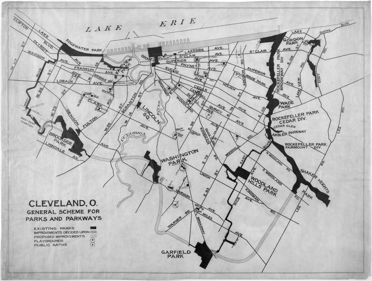 General Scheme for Parks and Parkways, 1890-1910. The bolded lines and areas on this map indicate proposed pathways between major parks around Cleveland.