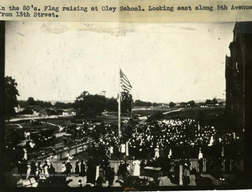 Flag Raising at Oley School, 1880s