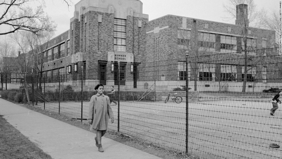 Sumner School in the early 1950s, with Linda Brown in foreground