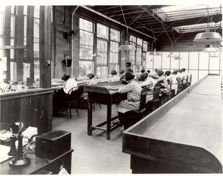 Radium Girls working in a factory in the 1920s