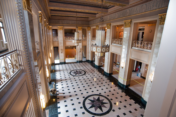 The Grand Lobby of the Peabody Opera House. Image obtained from yogawithdonnarae.com.