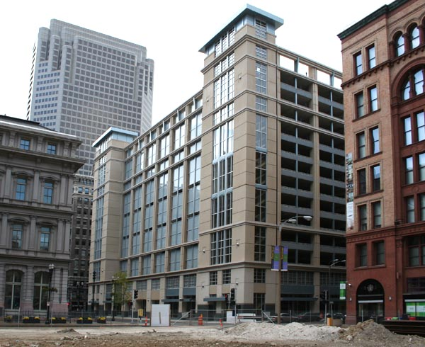 Today the 9th Street Garage stands on the site, providing parking for downtown businesses. Image obtained from builtstlouis.net.