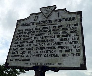 This historical marker stands in front of Montague's former home in Danville.