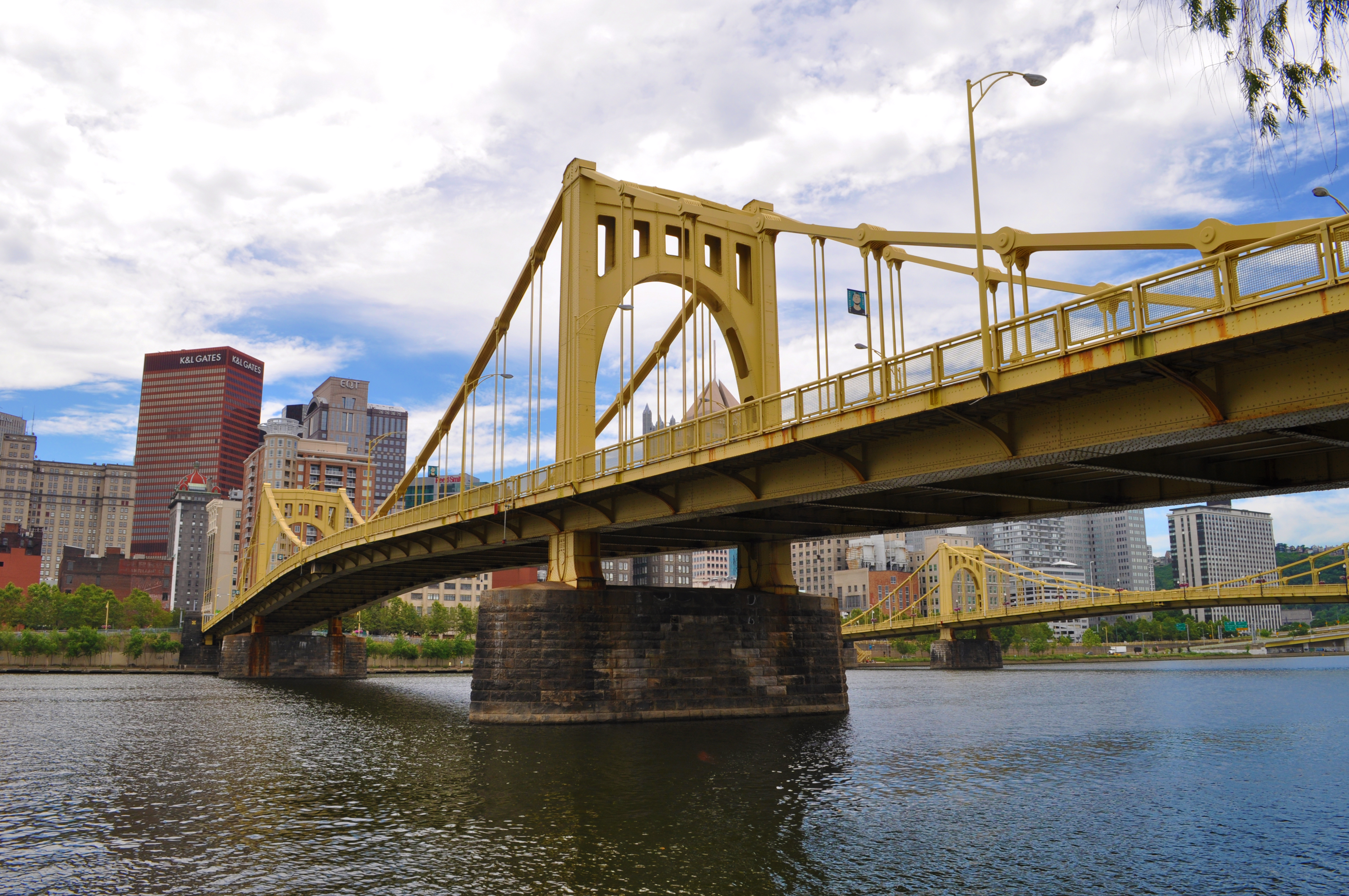 The Andy Warhol Bridge spans the Allegheny River and connects downtown Pittsburgh with its North Shore.  The Roberto Clemente Bridge can be seen in the background.