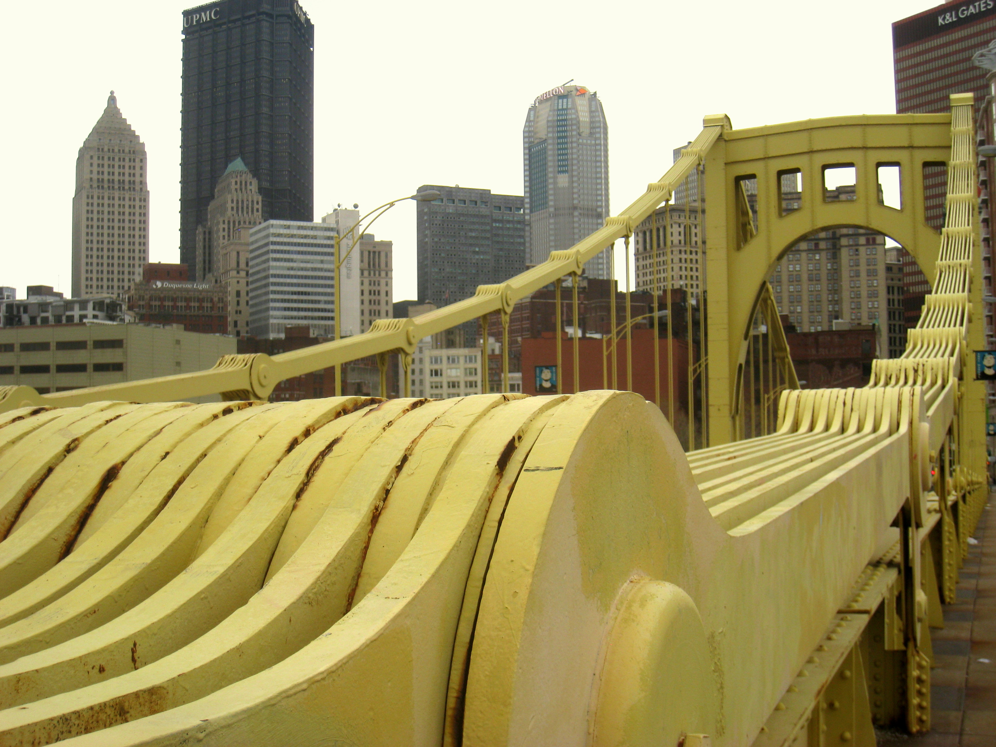 A close-up of one of the Warhol Bridge's eye-bar catenaries, which were used rather than cables in its construction.
