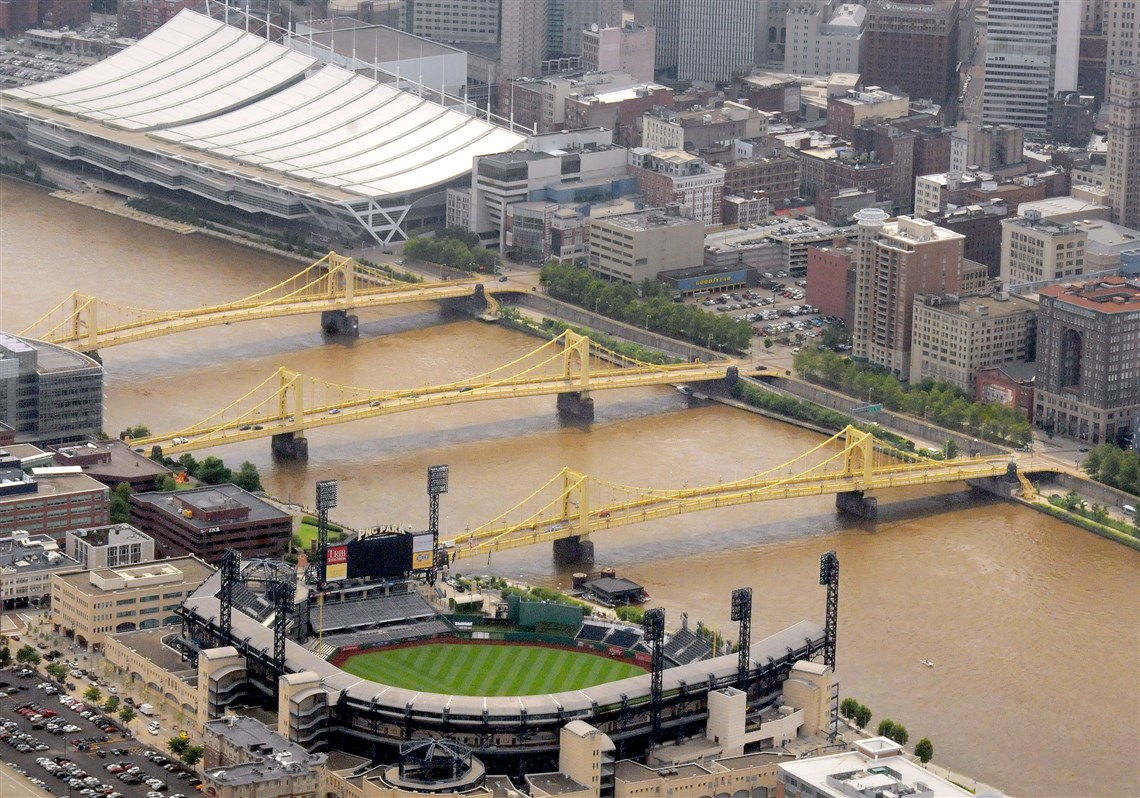 "Pittsburgh's ""Three Sisters"" with the Warhol Bridge flanked by the Roberto Clemente (foreground) and Rachel Carson (background) Bridges."
