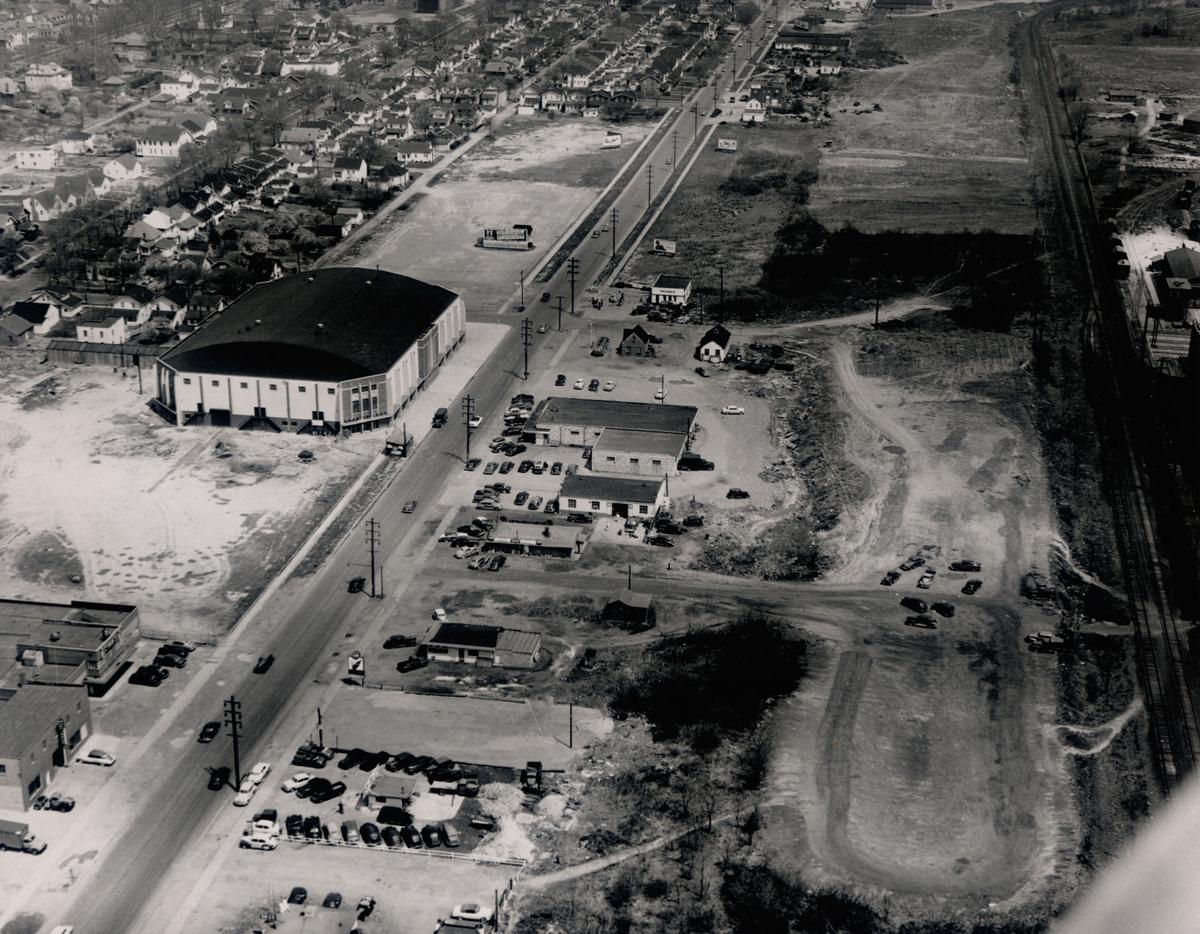 Aerial view of the Field House from its early days