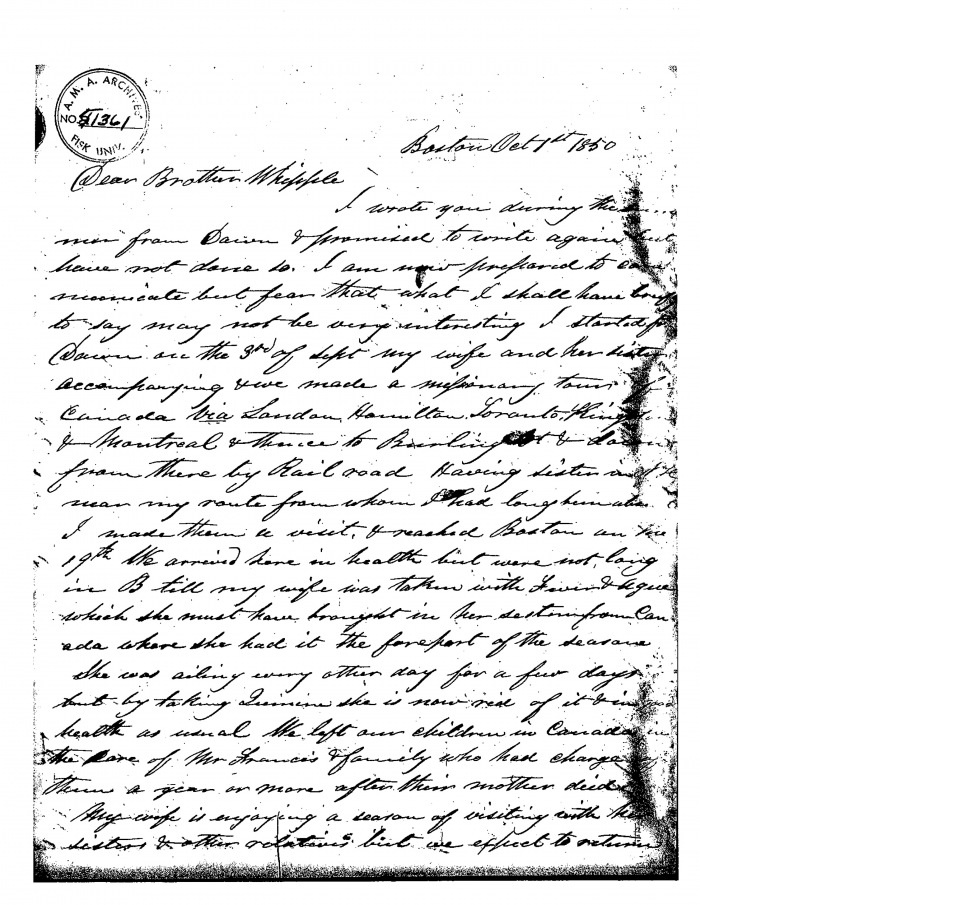 "An excerpt from a letter written by Hiram Wilson to Brother Whipple describing his adjustment to living in Canada and the plight of fugitives slaves desperately looking for refuge on Canadian soil (Image Credited to Huron University ""The Letters of Hiram Wilson"")."