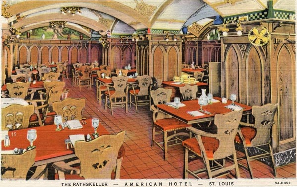 The Rathskeller was the hotel's basement bar and restaurant and was built to resemble the basement bars in Germany.