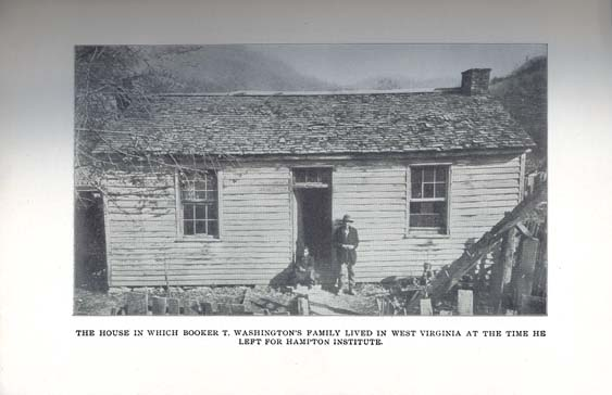 Undated black and white photo of Washintgon's boyhood cabin in WV.