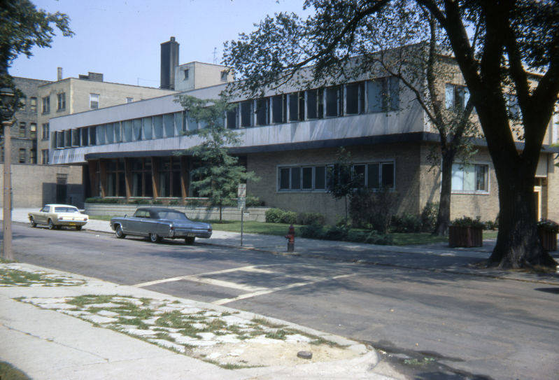 """West facade of the Brooks Memorial Union, 1967 (""""Department of Special Collections and University Archives, Marquette University Libraries, MUA_CB_00487)"""