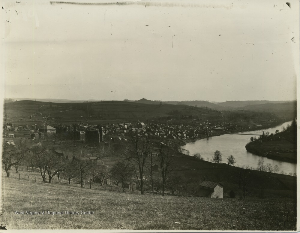 View towards Morgantown from the top of Sunnyside, ca. 1891-1892.
