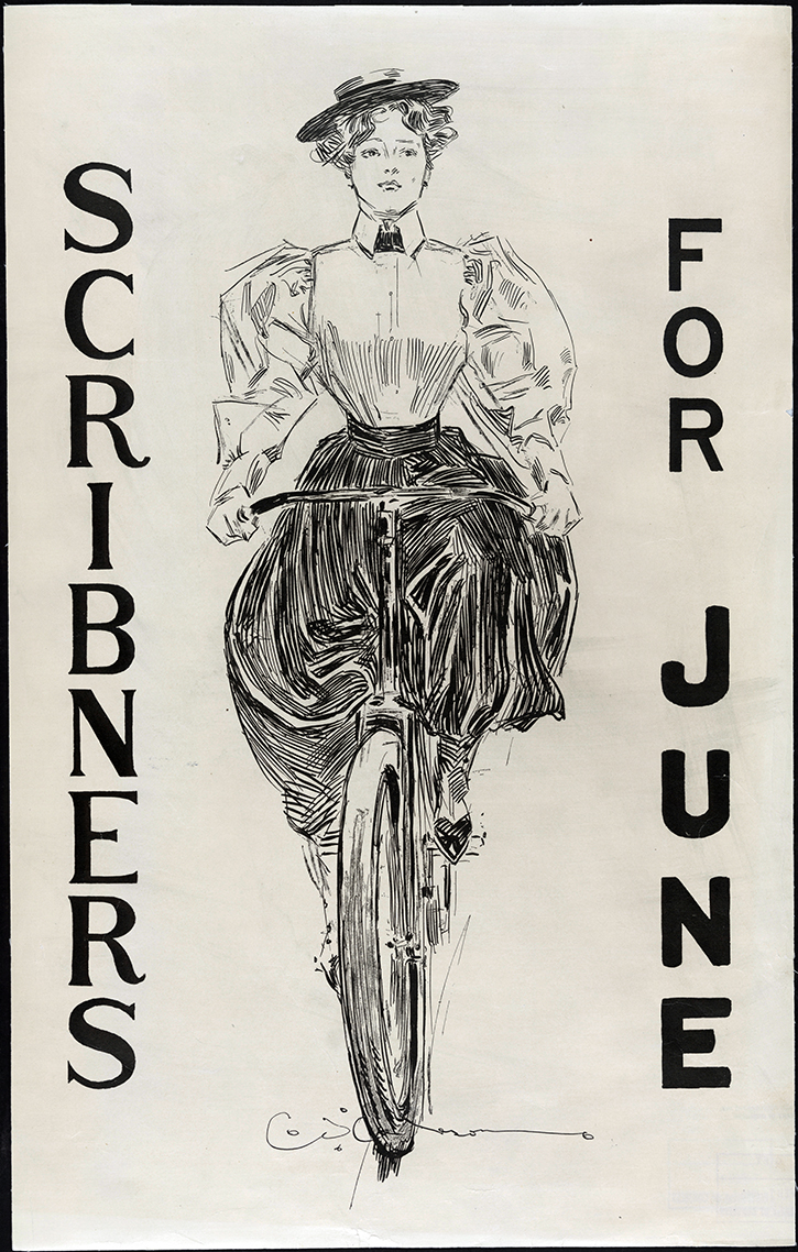 """The Gibson Girl"" on a bicycle. Historians of the area often point out that the bicycle allowed women greater mobility at the turn of the century."