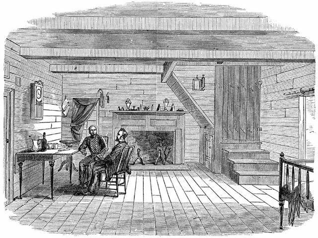 Johnston and Sherman discuss terms at the Bennett farmhouse. Image from Harper's Weekly, May 27, 1865.