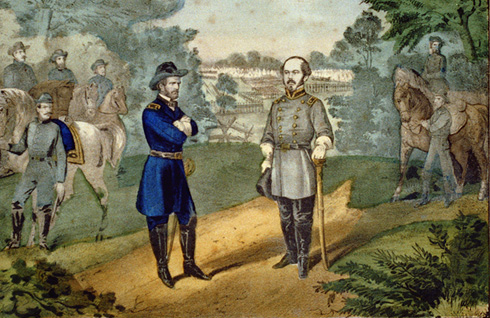 Painting depicting the surrender of Joseph E. Johnston at Bennett Place, North Carolina, April 26th, 1865. Original held at the Library of Congress.
