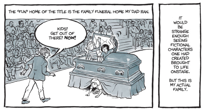 Alison Bechdel's rendering of events that took place within her own funeral home.