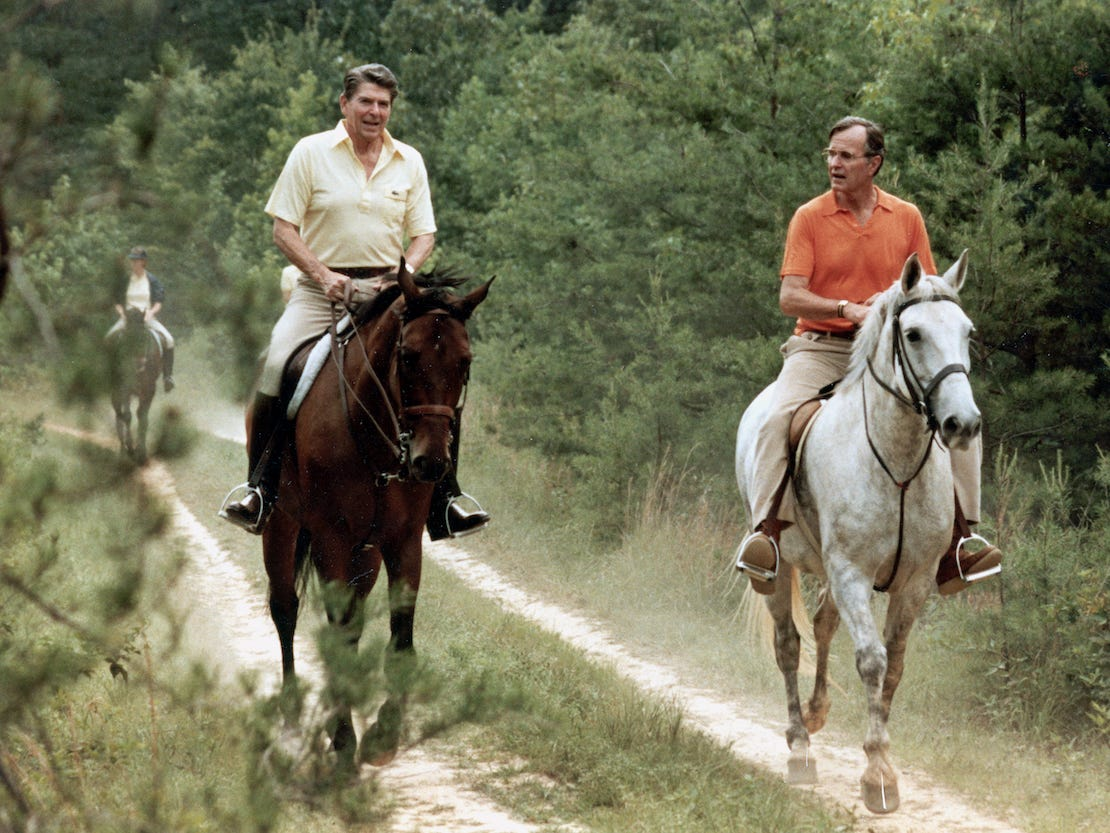 1981, President Ronald Reagan and Vice President George Bush horseback riding