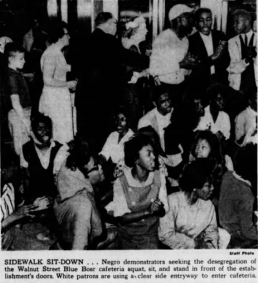 Louisville Courier-Journal photograph of sit-in on April 24, 1961 at the Blue Boar.