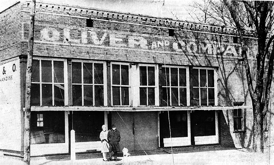 The Oliver and Company store on the corner of Main and First Street.