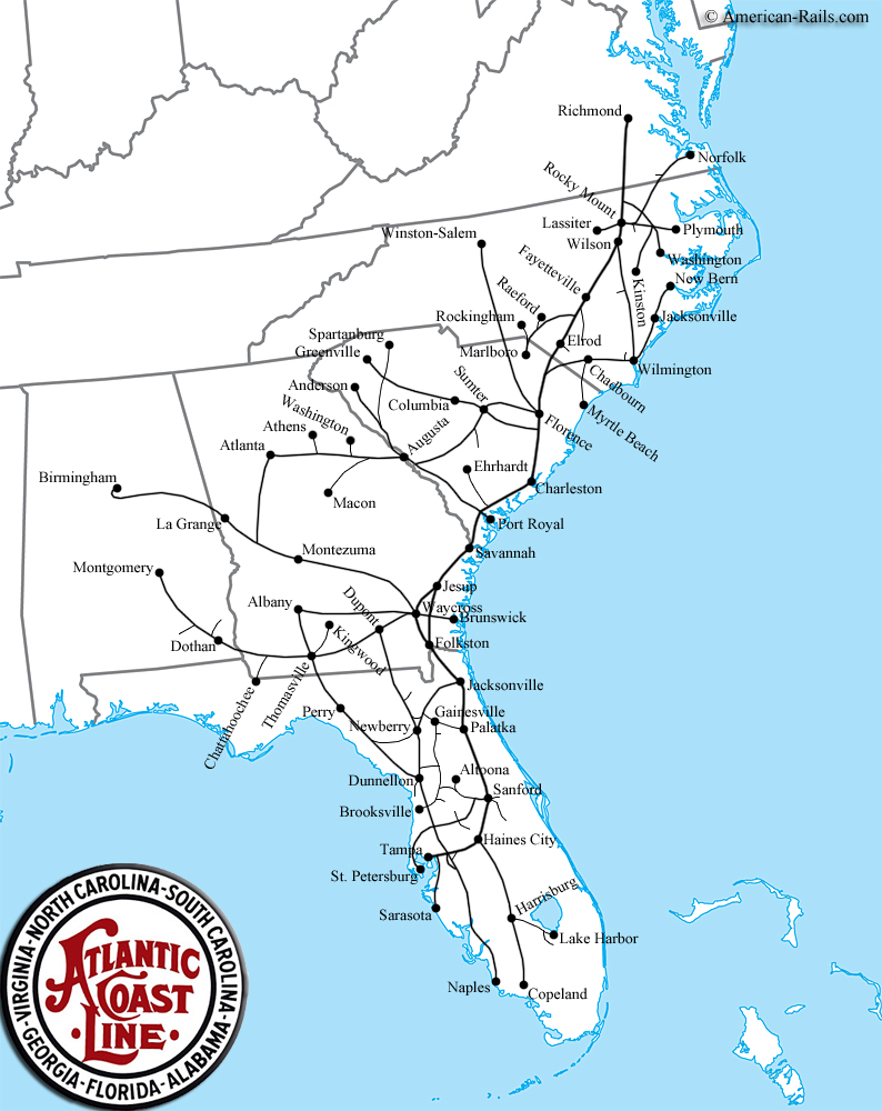 The Atlantic Coast Line Railroad was once one of the most successful and popular passenger train lines in the southeastern United States. Image obtained from lh6.googleusercontent.com.