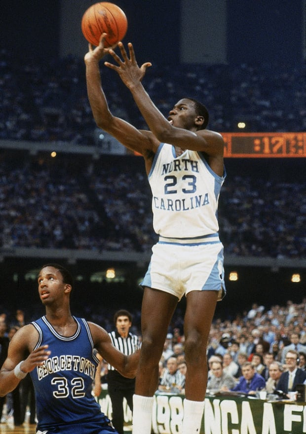 He is the picture that showed Jordan's clutchness. This shot was the game winning in 1982 against Georgetown.