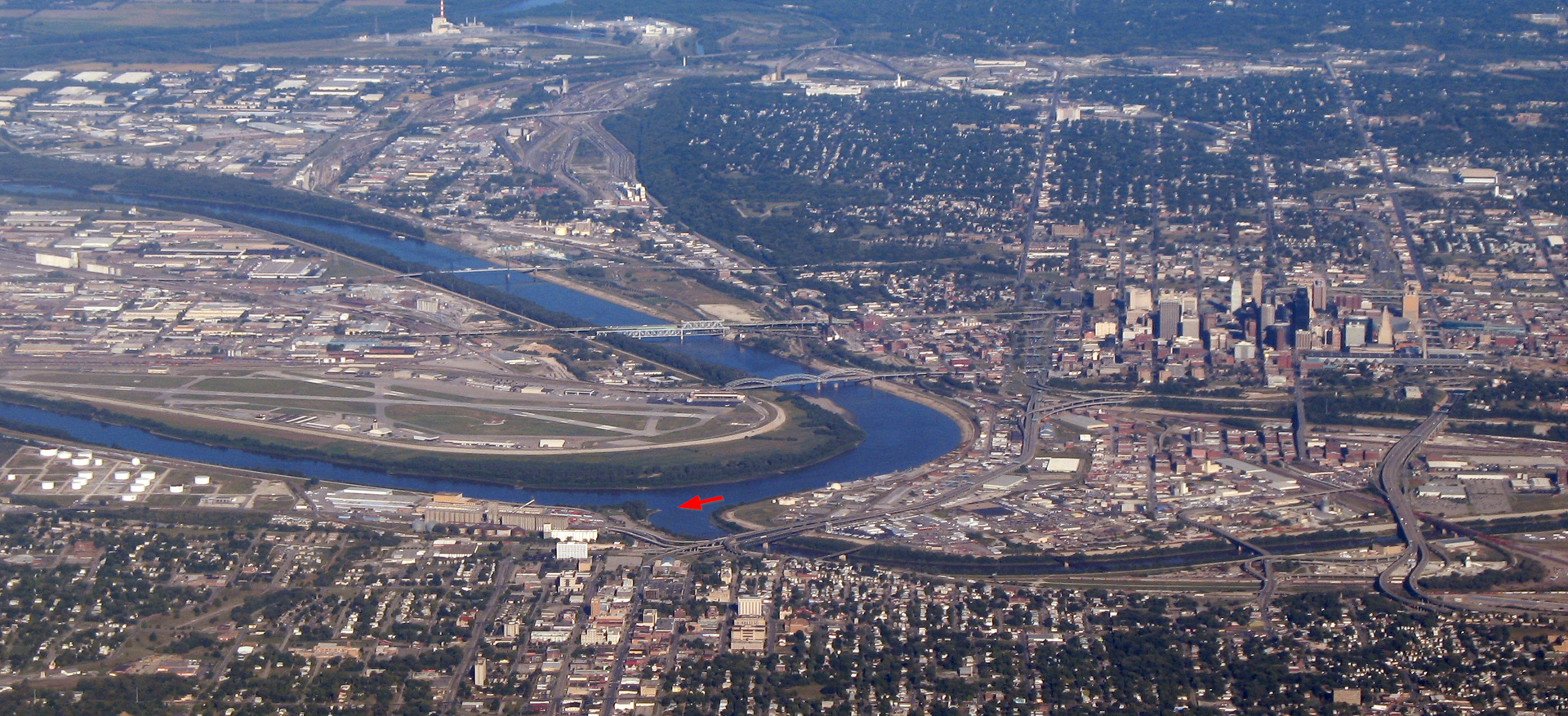 Kaw Point as seen from the air. Photo:  Americasroof, via Wikimedia Commons