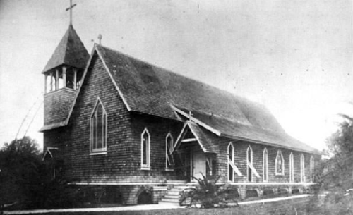 The original St. Luke's church was a wood frame building, which sat on the spot of the current one. Image obtained from the Cathedral Church of Saint Luke website.