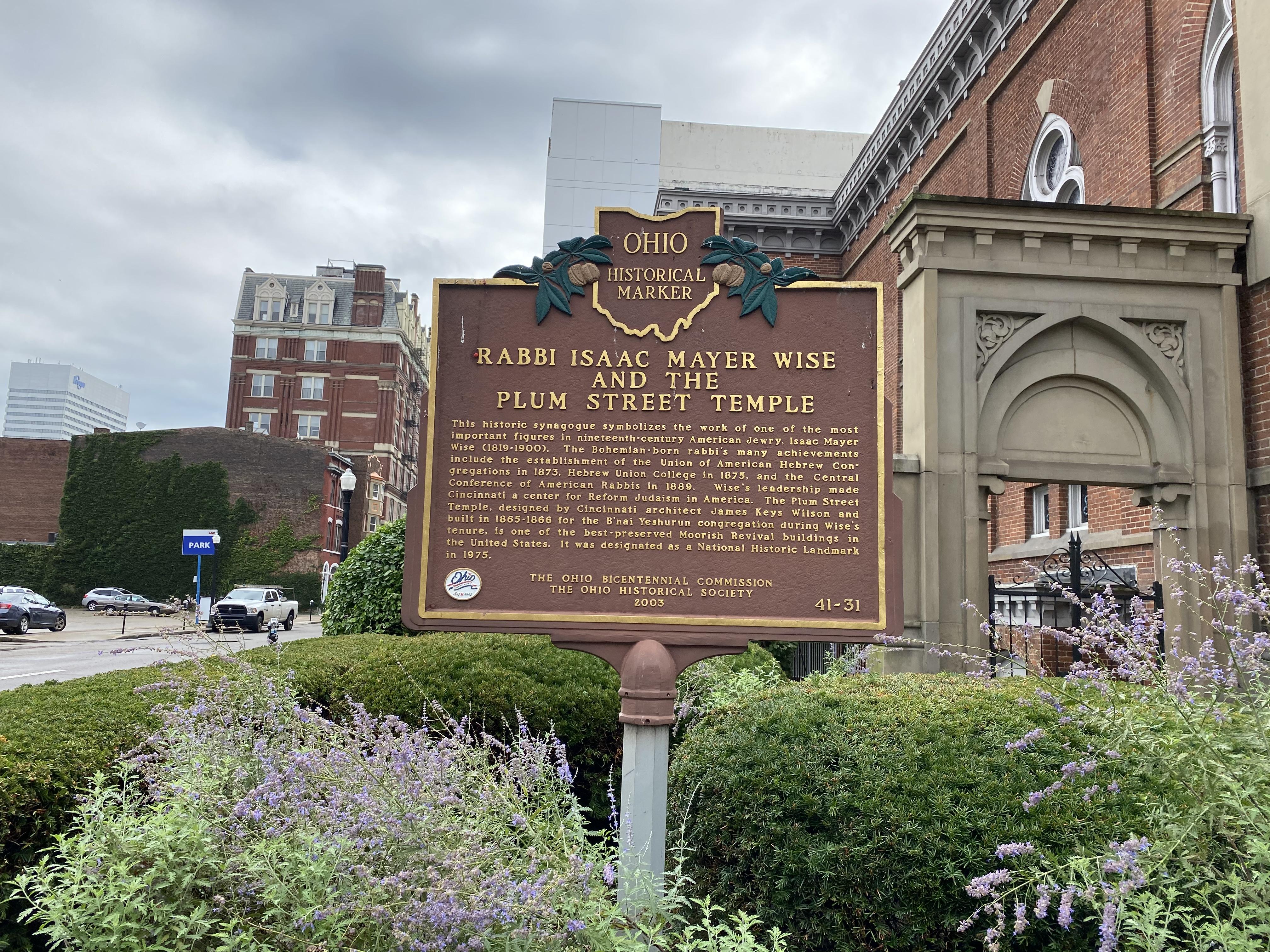 Historical Marker for Plum Street Temple