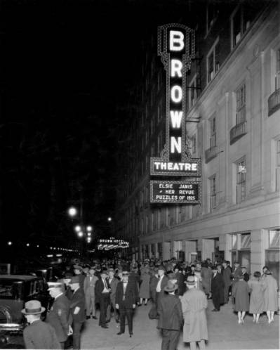Brown Hotel and Theatre, Louisville, Kentucky, night scene, 1925. The lit marquee includes the theater's first performance. ULPA CS 067722, Caufield & Shook Collection, Photographic Archives, University of Louisville, Louisville, Kentucky, http://dig