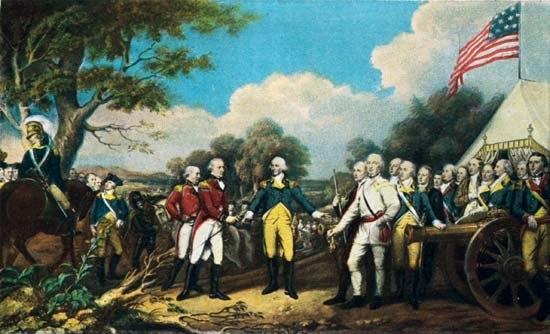 General Burgoyne surrendering to General Gates