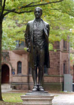 Hale stands on Old Campus, close to his old dorm (Yale University Visitor Center)