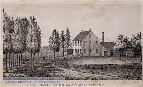 Hale's birthplace in Coventry, CT (Manuscripts & Archives, Yale University)