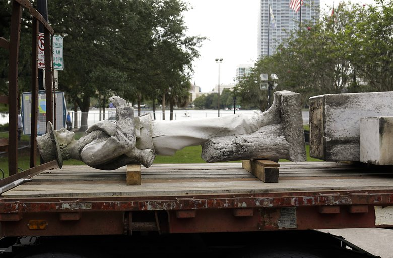 The Confederate monument was removed from Lake Eola in June 2017. Image obtained from the Seattle Times.