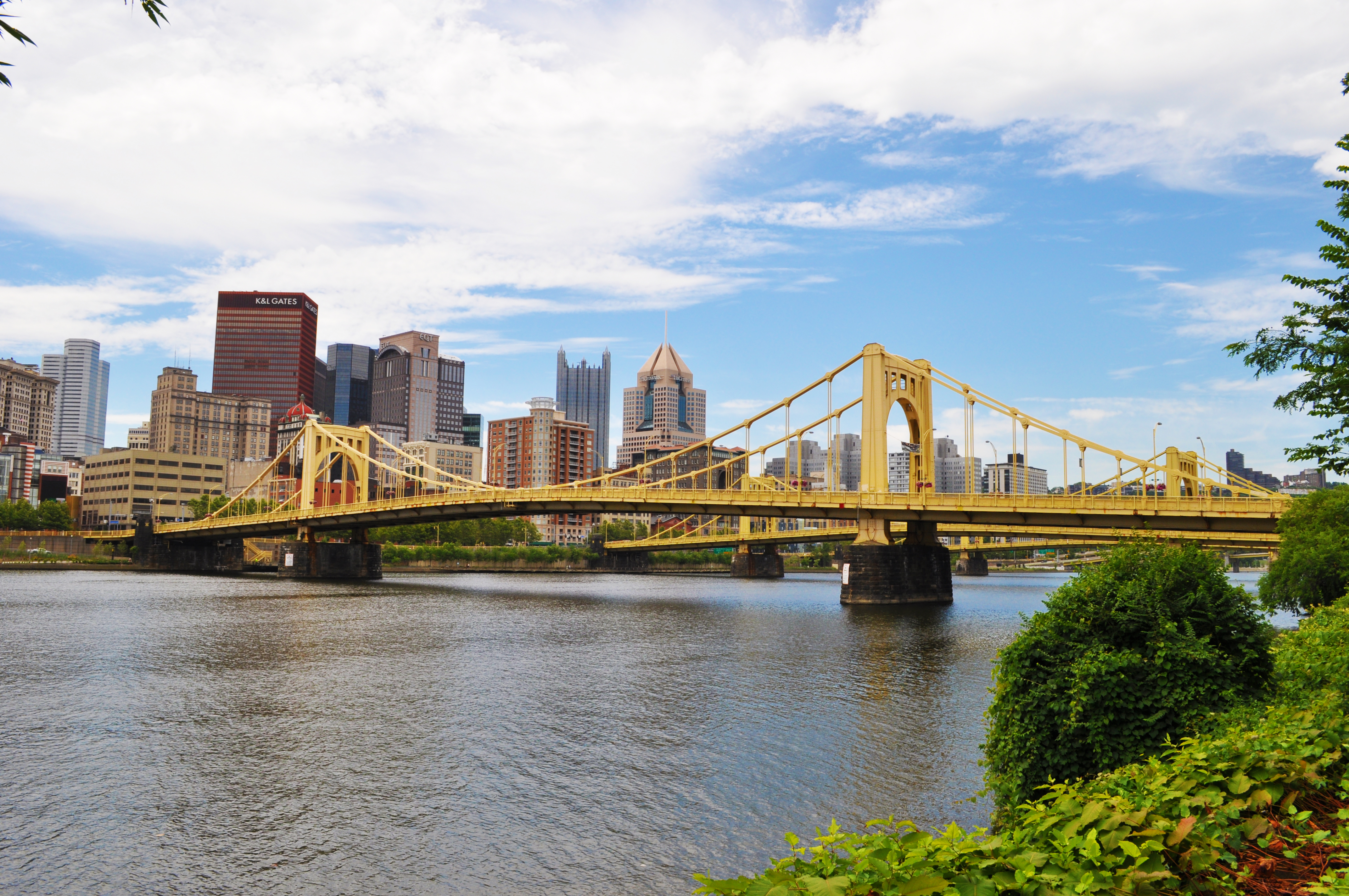 The Rachel Carson Bridge spans the Allegheny River and connects Pittsburgh's downtown with its North Shore.