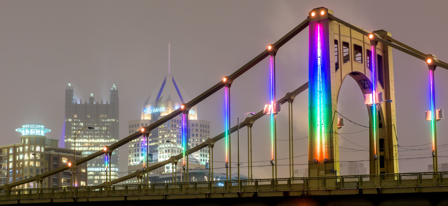"""The Carson Bridge illuminated through the """"Energy Flow"""" project which utilizes wind power to generate the power for the numerous LED lights on the bridge."""
