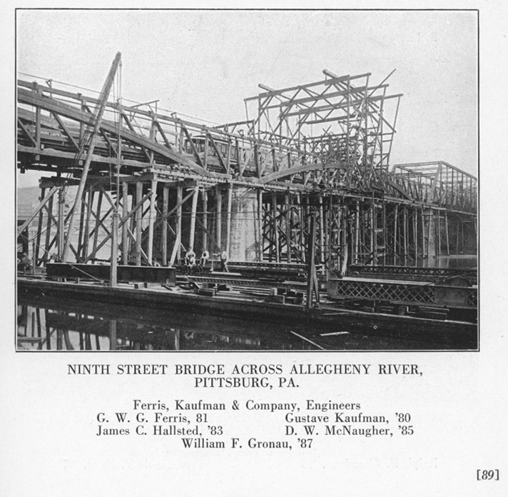 The second 9th Street Bridge is shown being constructed while the old, wooden covered bridge is simultaneously torn down in 1890.