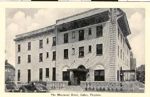 Vinnie Caldwell's family operated the Bluemont Hotel in Galax, Virginia, photograph courtesy of the Galax Public Library.