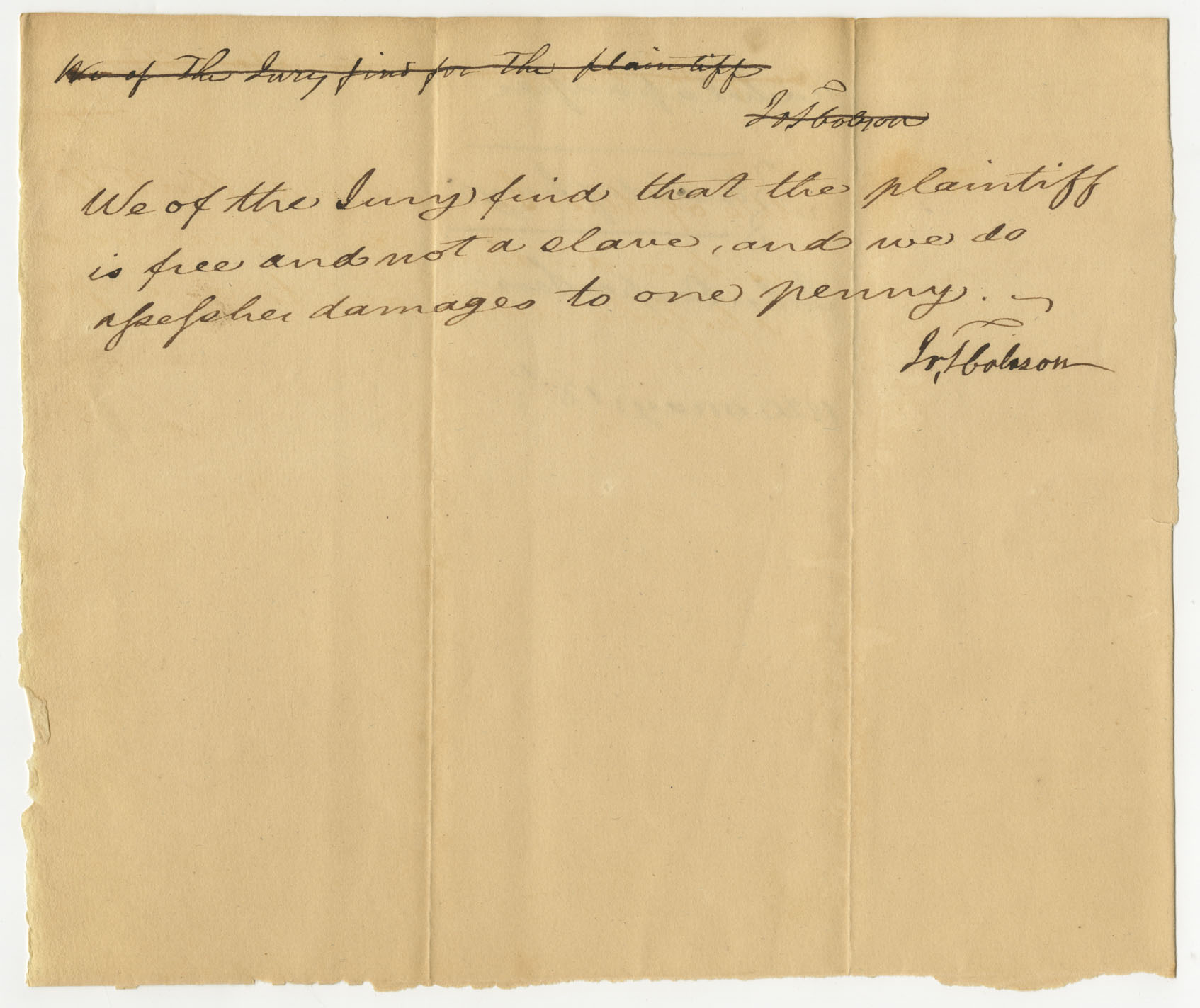 Verdict awarding Rachel Findlay her freedom, May 13, 1820, Powhatan County (Va.) Judgments (Freedom Suits), 1807-1844, image courtesy of the  Library of Virginia.