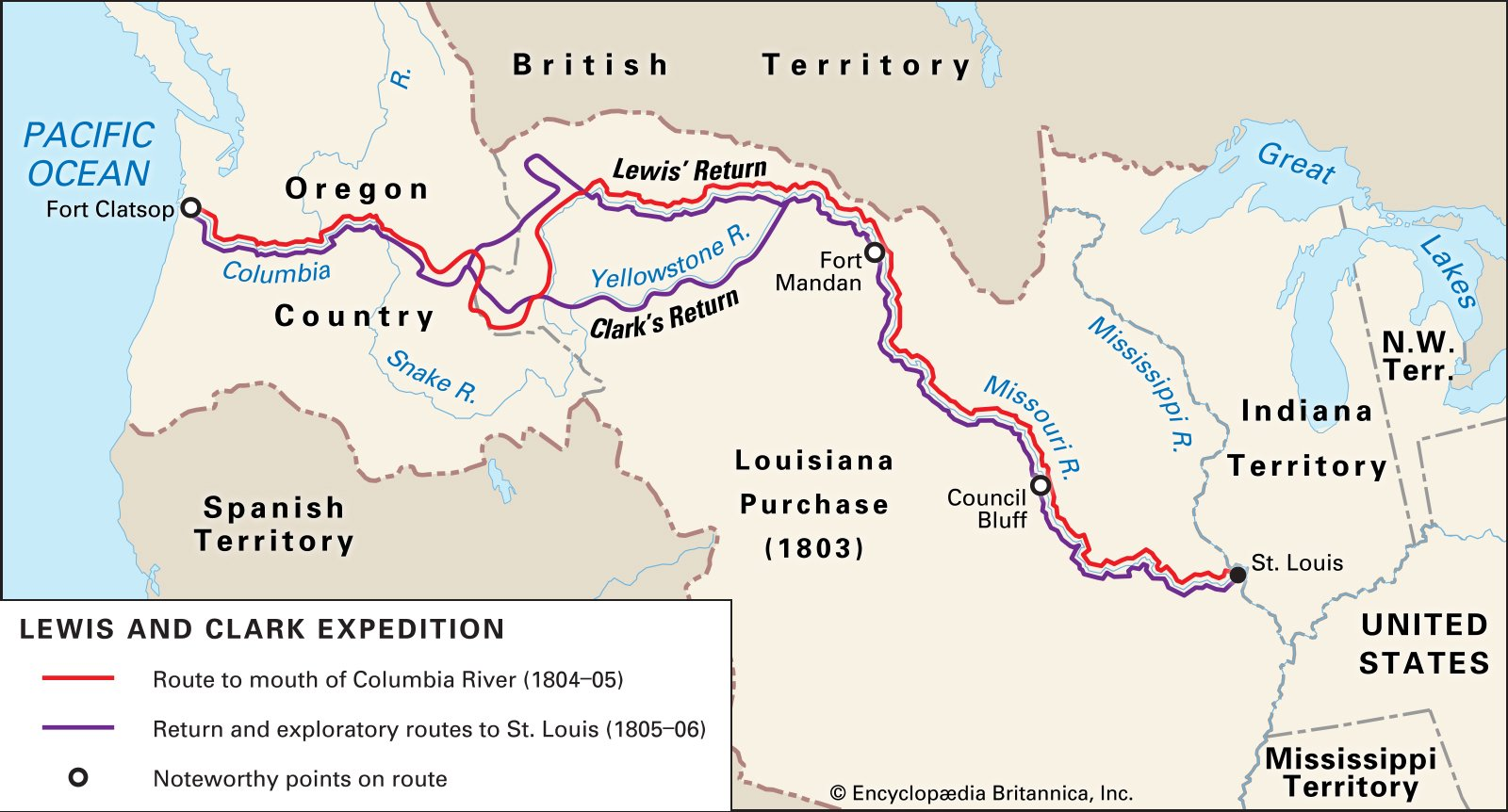 The expedition traveled almost 8,000 miles over the course of two years, from St. Louis to the Pacific Ocean and back. Image obtained from Encyclopedia Britannica.