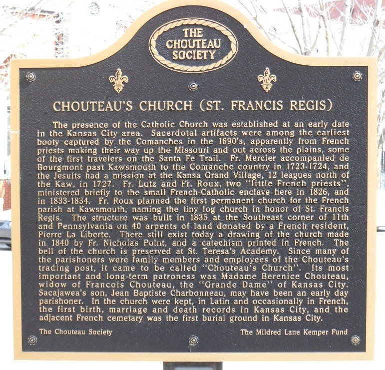 A second marker stands on the other side of the cathedral, commemorating the first church ever built in Kansas City. Image obtained from the Historical Markers Database.