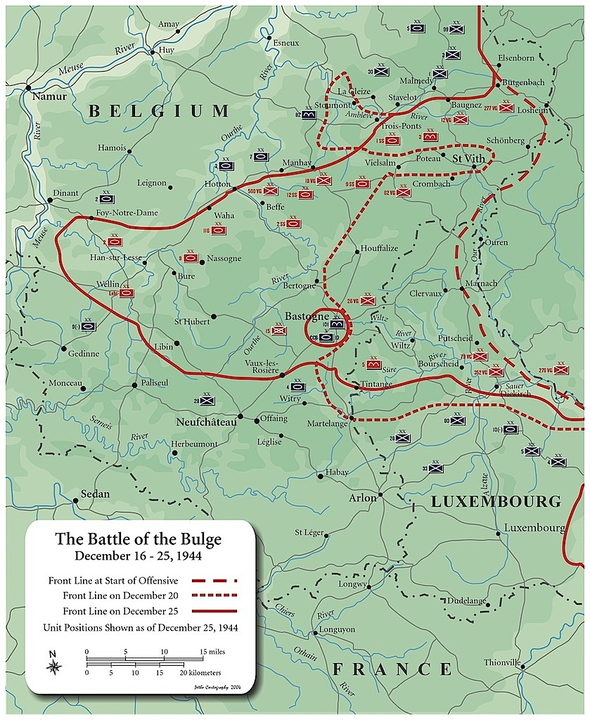 The German offensive created a large bulge in the front lines, resulting in the name Battle of the Bulge. Image obtained from HistoryNet.