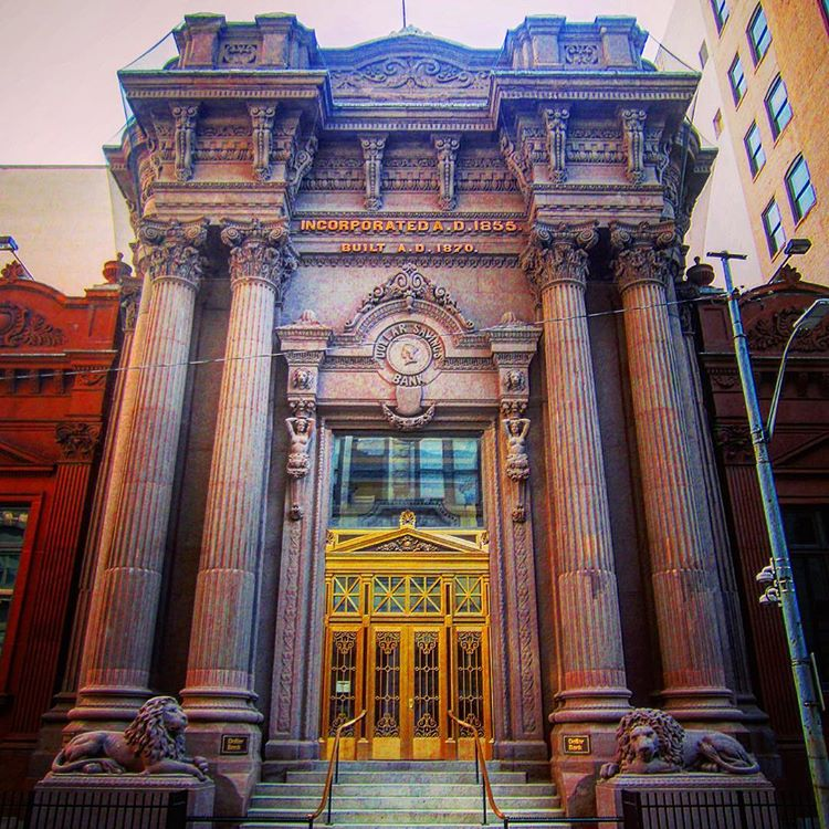 The Beaux Arts Dollar Bank Building is built primarily of 14,000 tons of Connecticut brownstone.