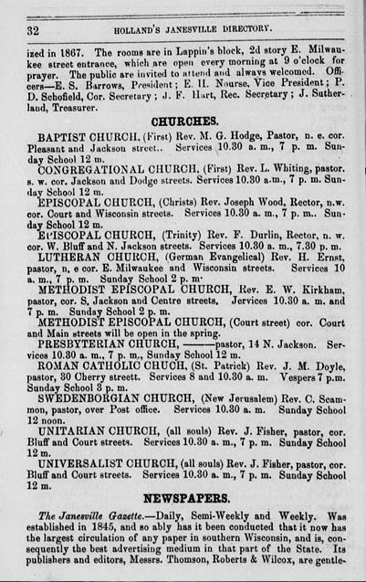 Janesville Directory from 1870