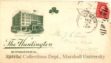 Envelope from the Hotel Huntington, dated July 6, 1919