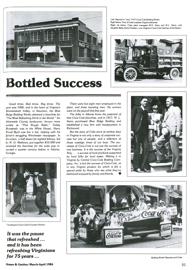 "1984 Coca-Cola advertisement featuring Betty Sams Christian as a child, ""Bottled Success,"" in Shenandoah Virginia Town and Country. Mar./Apr. 1984 (p. 51), image courtesy of the Library of Virginia."