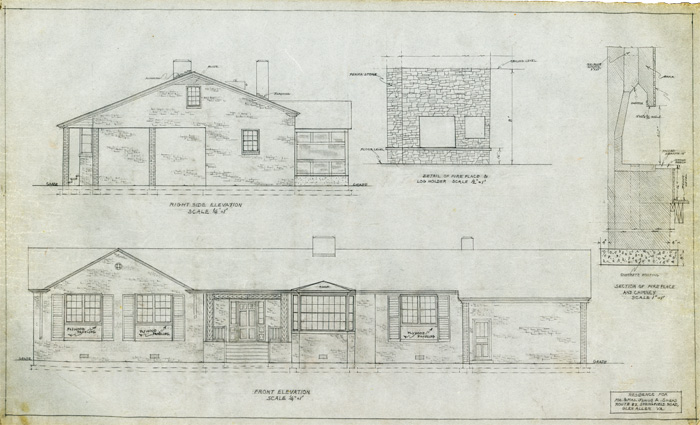 Furman's architectural drawing for the residence for Mr. and Mrs. Junius A. Snead, Glen Allen (n.d.), in Ethel Bailey Furman Papers, 1928-2003, Accession 41145, Library of Virginia.