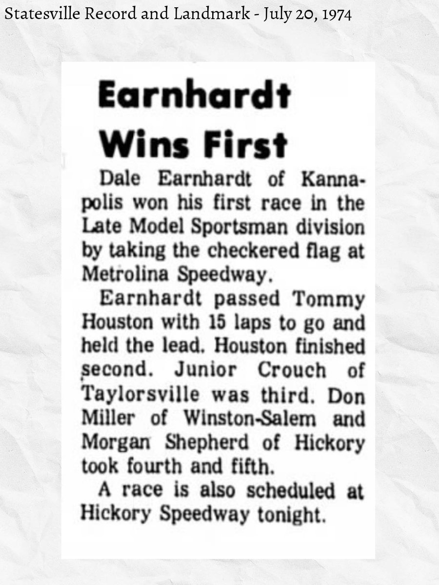 Dale Earnhardt get his first win in NASCAR (1974)