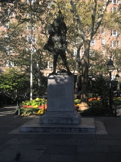 Photo of the statue in Abingdon Square Park.