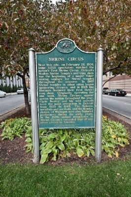 Photograph of the Shrine Circus historical marker.
