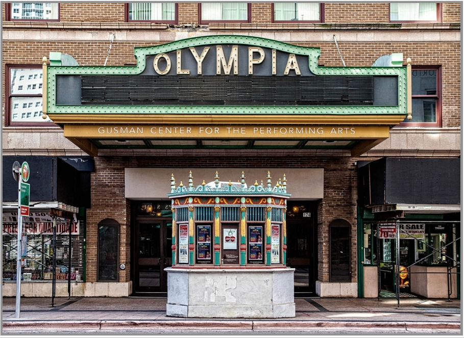 Exterior of the Olympia Theater today. Image obtained from olympiatheater.org.